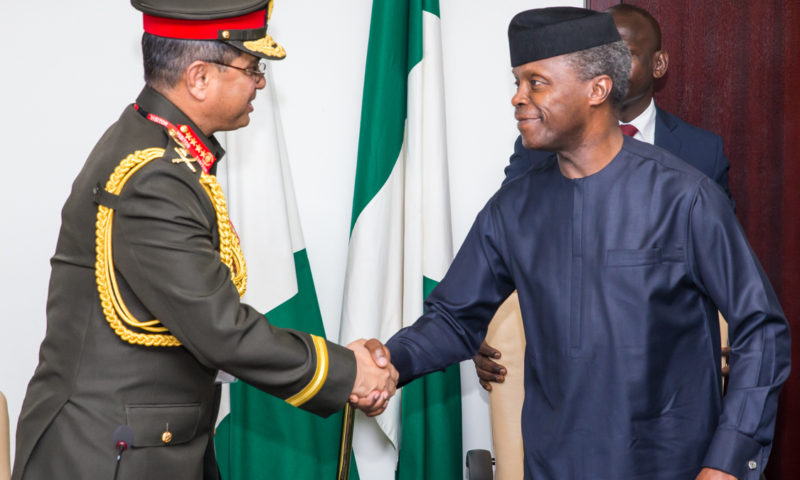 Vice President receives on behalf of President Buhari Bangladesh Chief of Amy Staff on a Courtesy Call, 25th April 2017.