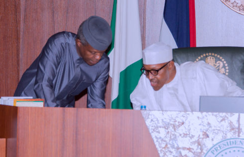 President Muhammadu Buhari and Vice President Yemi Osinbajo during the Federal Executive council Meeting held at the Council Chamber of the State House in Abuja. PHOTO; SUNDAY AGHAEZE. MAR22 2017