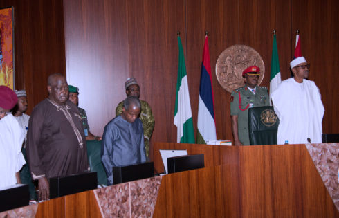 R-L; President Muhammadu Buhari, Vice President Yemi Osinbajo and SGF ENGR Babachir David Lawal during the Federal Executive council Meeting held at the Council Chamber of the State House in Abuja. PHOTO; SUNDAY AGHAEZE. MAR22 2017
