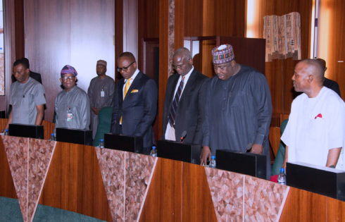 Cross Section of Ministers; L-R Minister of Niger Delta.Usani Uguru Usanu, Minister of State Niger Delta, Claudius Omoyele Daramola, Minister of State Petroleum Resources, Dr Emmanuel Ibe Kachukwu, Minister of Power Works and Housing, Babatunde Fashola, Minister of State Power, Alh Mustapha Shehuri and Minister of Science and Technology, Dr Ogbonnya Onu during the Federal Executive council Meeting held at the Council Chamber of the State House in Abuja. PHOTO; SUNDAY AGHAEZE. MAR22 2017.