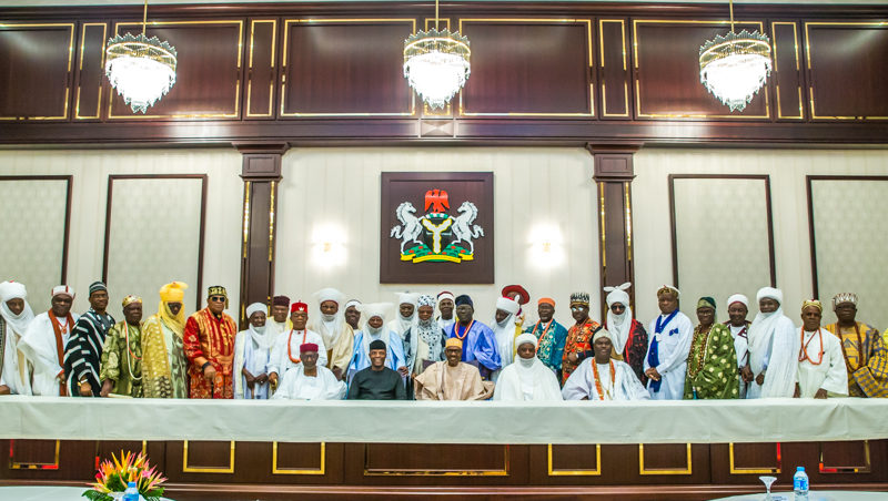 President and VP receives National Council of Traditional Rulers of Nigeria 11th Sept. 2017.