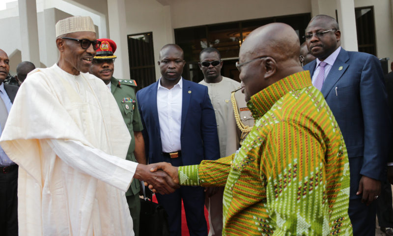PRESIDENT BUHARI RECEIVES HIS GHANAIAN COUNTERPART AT THE STATE HOUSE.