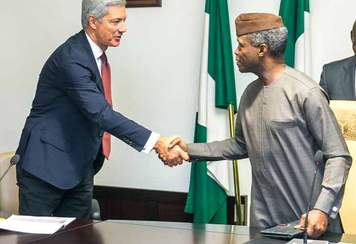 Vice President Yemi Osinbajo meets with Helios Investment Partners and GB Foods at the State House. 4th