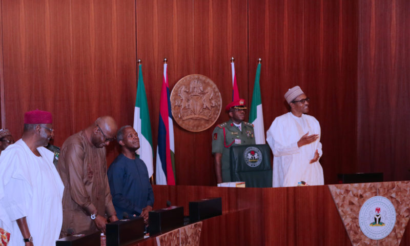 PRESIDENT BUHARI PRESIDES OVER FEC MEETING AT THE STATE HOUSE. FEB 7 2018