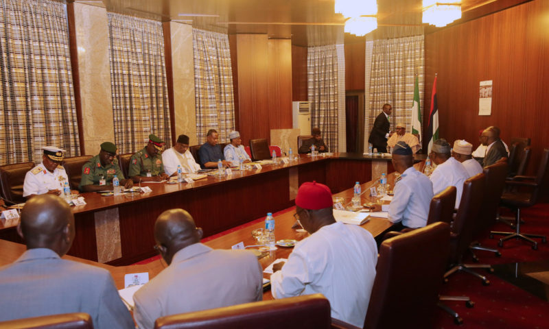 PRESIDENT BUHARI PRESIDES OVER SECURITY MEETING. FEB 12 2018