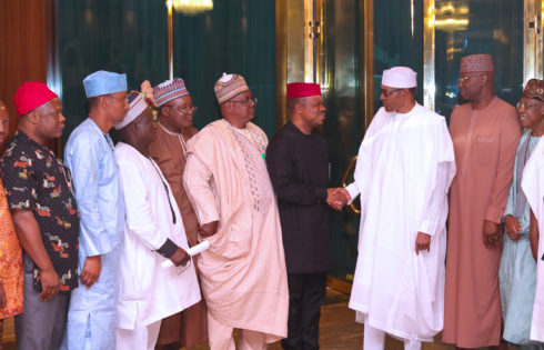 PRESIDENT BUHARI RECEIVES LEADERSHIP OF NUJ ON A CONGRATULATORY VISIT AT THE STATE HOUSE ABUJA. MARCH 21 2019