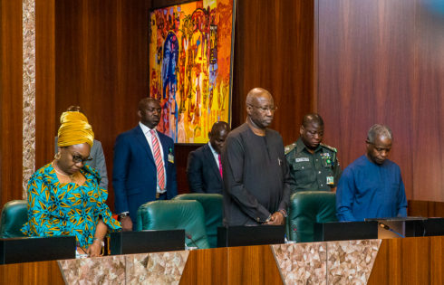 VP Osinbajo; SGF, Mr Boss Mustapha; and Head of Civil Service of the Federation, Mrs. Winifred Oyo-Ita.