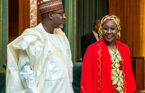 Min of Water Resources, Engineer Suleiman Hussein Adamu with Min. of State for Industry, Trade & Investment, Hajia Aisha Abubakar.