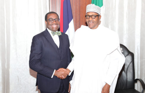 PRESIDENT BUHARI RECEIVES AFDB PRESIDENT ADESINA AT THE STATE HOUSE. APR 23 2019