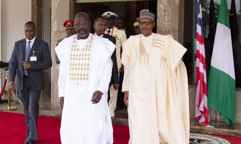 PRESIDENT BUHARI RECEIVES LIBERIA PRESIDENT WEAH AT THE STATE HOUSE. JUNE 13 2019