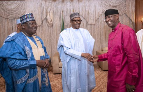 PRESIDENT BUHARI RECEIVES THE NEWLY ELECTED SENATE PRESIDENT LAWAN AND DSP OMO-AGEGE. JUNE 11 2019