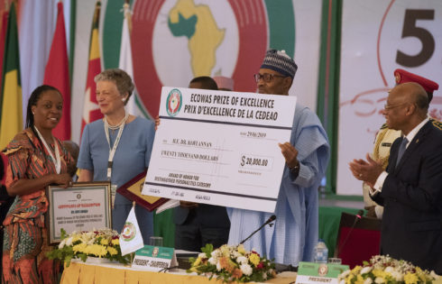PRESIDENT BUHARI PRESENTS ECOWAS 2018 EXCELLENCE AWARD. JUNE 29 2019
