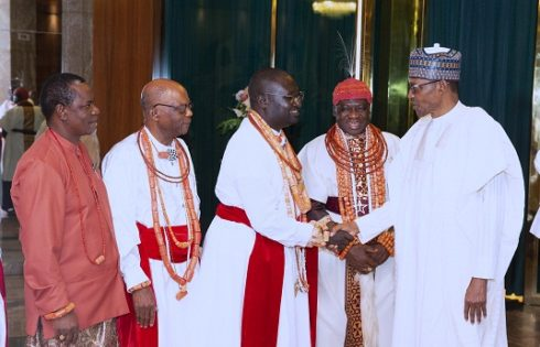 PRESIDENT BUHARI RECEIVES OLU OF WARRI ON A COURTESY VISIT. JULY 31 2019
