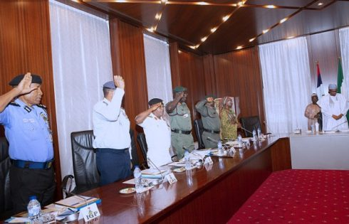 PRESIDENT BUHARI RECEIVES SECURITY BRIEFING FROM SERVICE CHIEFS. AUG 8 2019