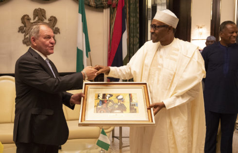 PRESIDENT MUHAMMADU BUHARI BIDS FAREWELL TO TWO OUTGOING ENVOY FROM NIGERIA. PHOTO; SUNDAY AGHAEZE SEPT 3 2019
