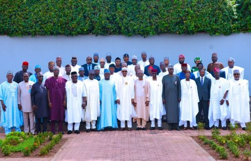 PRESIDENT BUHARI RECEIVES 36 STATES ASSEMBLIES SPEAKERS ON A COURTESY VISIT