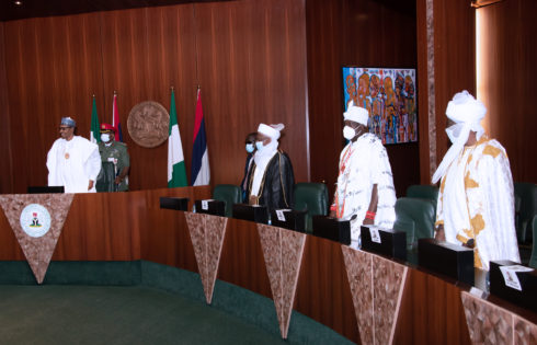 PRESIDENT BUHARI IN AN AUDIENCE WITH SELECTED TRADITIONAL RULERS LED BY SULTAN OF SOKOTO